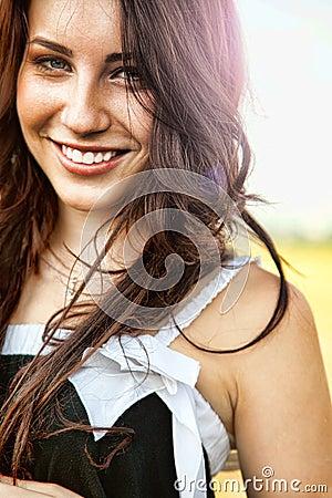 Very positive joyful woman with beautiful smile