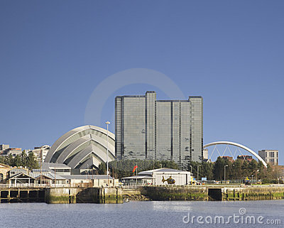 Sunny Glasgow cityscape beside Clyde