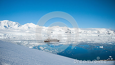 Sunny lagoon from the peak in Antarctica