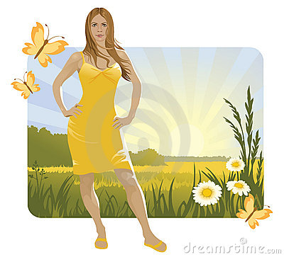 Sunny landscape and girl
