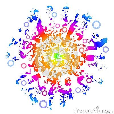 Sunny Peace Love Background, Easily Editable, Vect