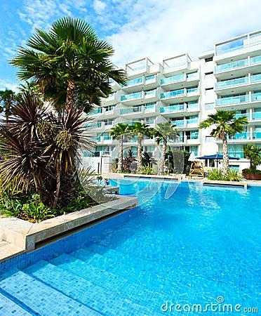 Sunny pool in Spain