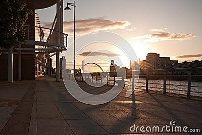 Sunny promenade in Glasgow, Scotland