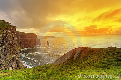 Sunny scenery of Cliffs of Moher