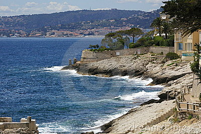 Sunny seaside of Nice in France