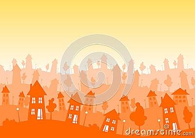 Sunny Silhouette city houses skyline