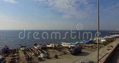 Sunny spring day above the Pomorian waterfront in Bulgaria stock video