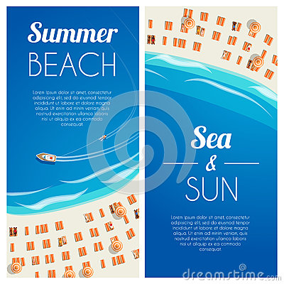 Sunny summer beach vertical banners with beach chairs and people. Vector illustration, eps10. Cartoon Illustration