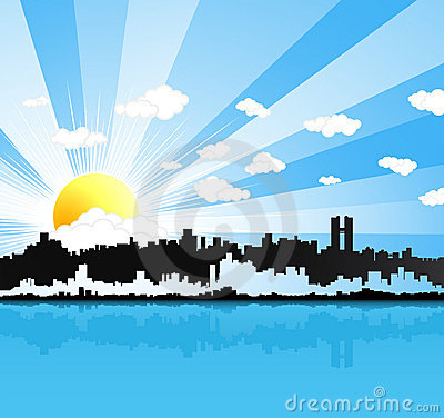 Sunny urban panorama background