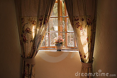 Sunny window sill with pot plant and curtains