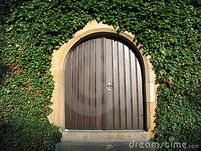 Sunny wooden entrance