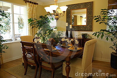 Sunny yellow dining room royalty free stock photo image for Yellow dining room decorating ideas