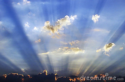 Sunrays emerging from the cloud