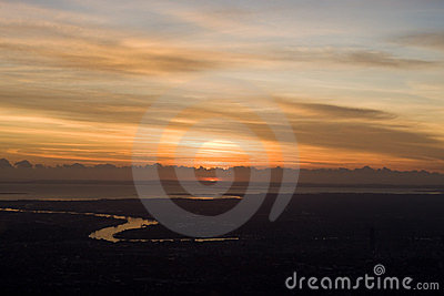 Sunrise Aerial view of Brisbane The River City