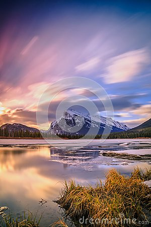 Free Sunrise At Vermilion Lake, Banff National Park Royalty Free Stock Image - 121793746