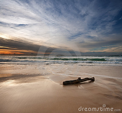 Sunrise on beach with log in foreground