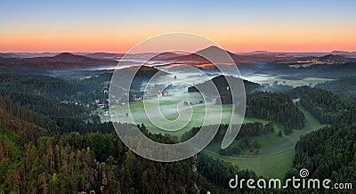 Sunrise in beautiful mountain Czech switzerland