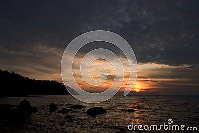 Sunrise at the Black Sea coast, Crimea mountains