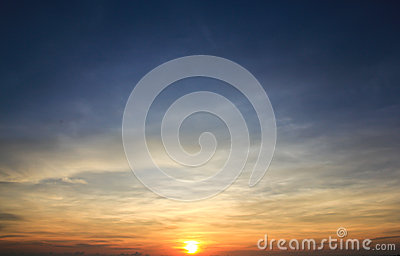 Sunrise with blue sky background