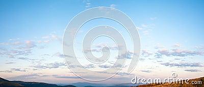 Sunrise blue sky panorama