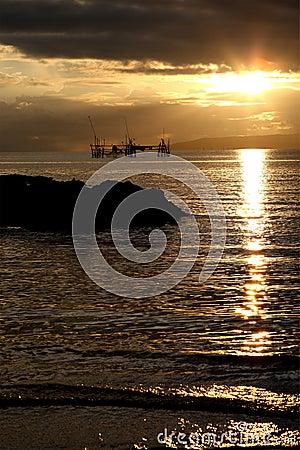 Sunrise at Buntal village Stock Photo