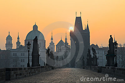 Sunrise Charles Bridge,Small Quarter,Prague