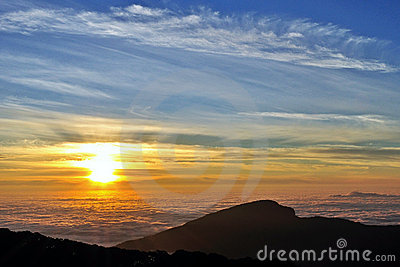 Sunrise on cloud ocean