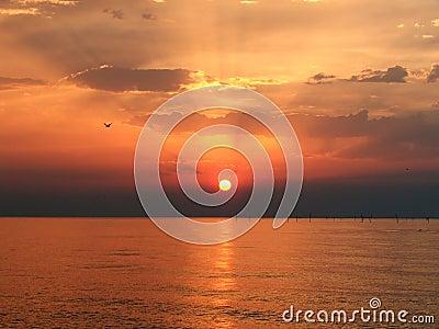 Sunrise on clowdy sky