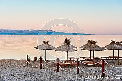 Sunrise on empty beach in Croatia