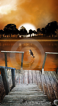 Sunrise fishing dock