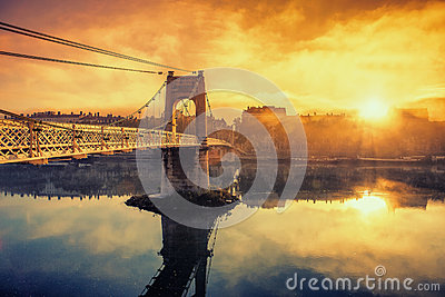Sunrise on footbridge