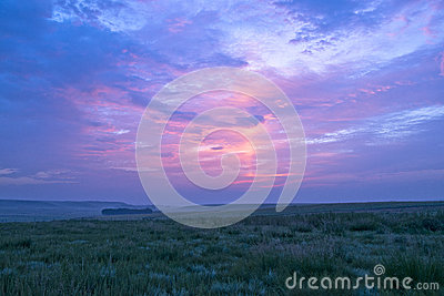 Sunrise and grassland