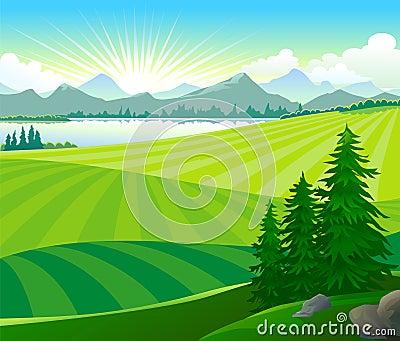 Sunrise in green hills