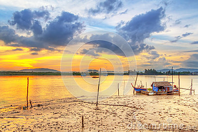 Sunrise at the harbor of Koh Kho Khao island