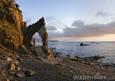 Sunrise on headland Velikan, island Sakhalin