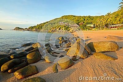Sunrise on idyllic tropical beach
