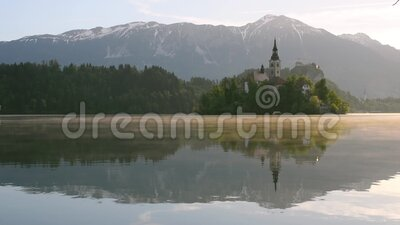 Sunrise at lake Bled, famous tourist destination in Slovenia.  stock video footage