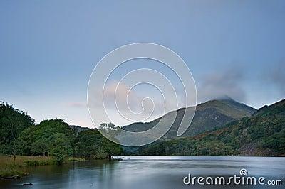 Sunrise landscape over Llyn Gwynant in Snowdonia