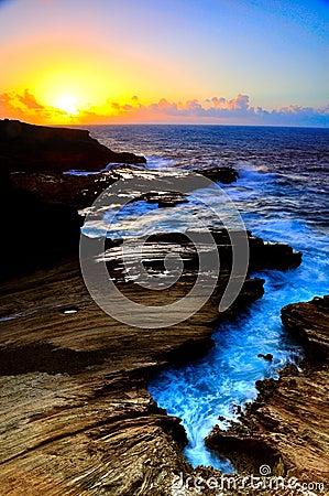 Sunrise lava cliff