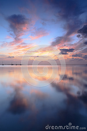 Sunrise in Mar Menor with a dock