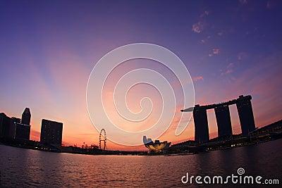 Sunrise at Marina Bay Singapore Editorial Stock Photo
