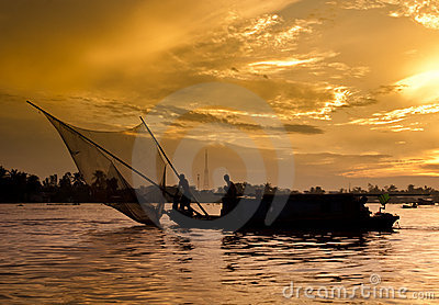 Sunrise on the Mekong river
