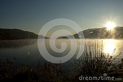 Sunrise on a misty lake - New Day - Peaceful and P