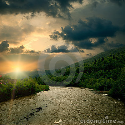 Sunrise on mountain river