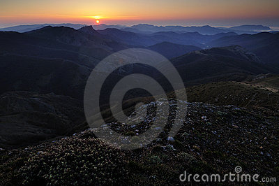 Sunrise in mountains