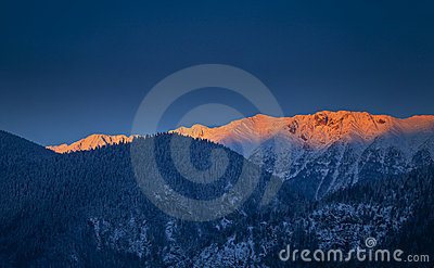 Sunrise in the mountains in winter