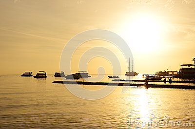 Sunrise at Naama Bay, Red Sea and motor yachts