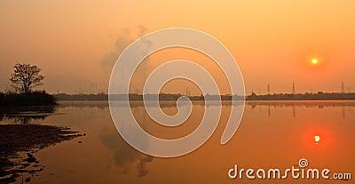 Sunrise near electric plant