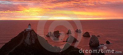 Sunrise on Nugget Point with Lighthouse
