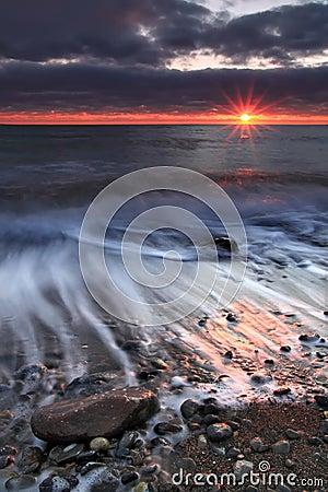 Sunrise on the ocean beach